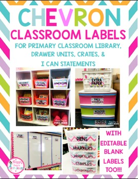Chevron Classroom Labels ( for Primary Library, Mini Drawer Unit, & More!)