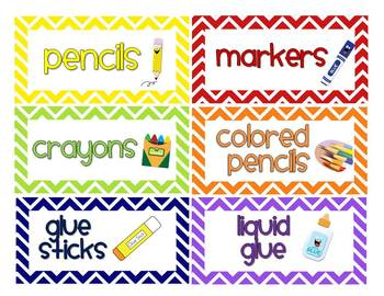Chevron Classroom Labels (with and w/o pictures) - 3 editable sizes