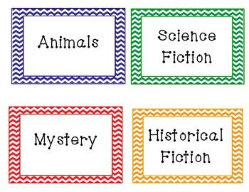 Chevron Classroom Library Genre Labels