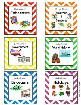 Chevron Classroom Library labels