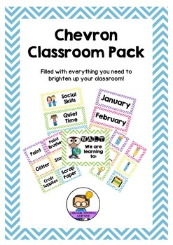 Chevron Classroom Pack - Labels, Schedules, Signs & Templates