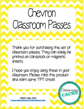 Chevron Classroom Passes