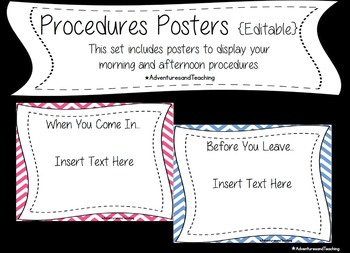 Chevron Classroom Procedures Posters {EDITABLE}