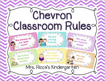 Chevron Classroom Rules (Editable)