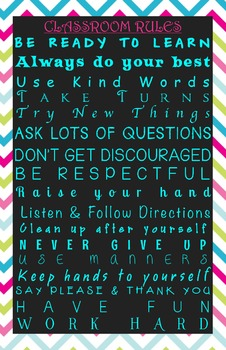 Chevron Classroom Rules Poster