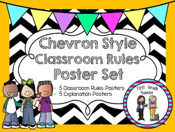 Chevron Classroom Rules Poster Set