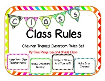 Chevron Classroom Rules Posters and Banners