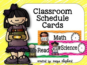 Chevron Classroom Schedule Cards