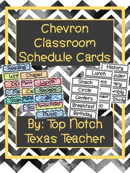 Chevron Classroom Schedule Cards