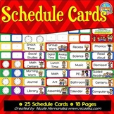 Daily Schedule Cards with Pictures Bright Chevron With Digital and Analog Clocks