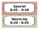 Chevron Classroom Schedule (editable)
