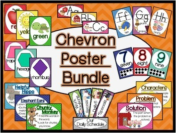 Chevron Classroom Sign and Poster Bundle (Handwriting With