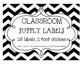 Chevron Classroom Supply Labels - Black and White