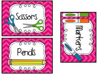 Chevron Classroom Supply Labels {in 6 colors}