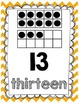 Chevron Classroom Ten Frame Number Posters