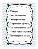 Chevron Classroom Welcome Sign Pastel Colors