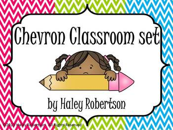 Chevron Classroom pack-bright colors (7 items, 3 colors)