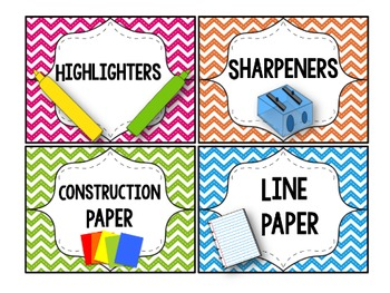 Chevron ClassroomSupply Labels