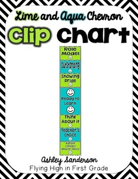 Chevron Clip Chart {lime and aqua}