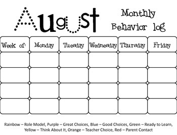 Clip Chart with Calendars, Recording Sheets, Behavior Management