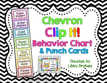 Clip It Behavior Chart and Punch Cards {Bright Chevron}