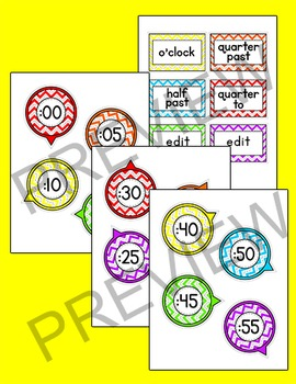 Chevron Clock Labels Classroom Decor