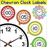 Chevron Theme Classroom Clock Labels & Telling Time Worksheets
