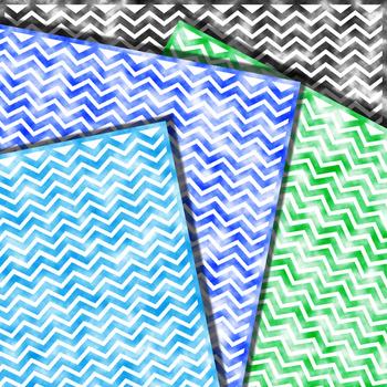 Chevron Clouds - Watercolor Digital Papers