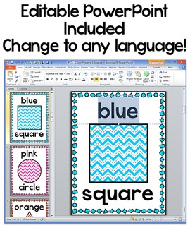 Chevron Classroom Decor Colors and Shapes Posters
