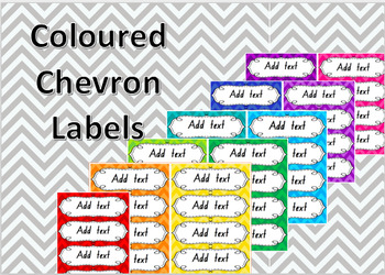 chevron colour labels 4 per page editable by miss dimech tpt