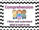 Chevron Common Core Cafe Menu Posters and Objectives for Kindergarten