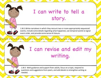 "First Grade ""I Can"" Common Core Statements-Chevron"
