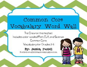 Chevron Common Core Vocabulary Word Wall:Grades 3-5 (ELA,