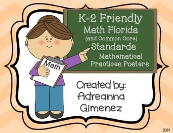 Chevron Common Core/Math Florida Mathematical Practice Standards Posters for K-2