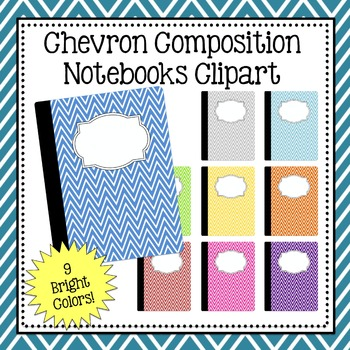 Chevron Composition Notebook Clipart - Commercial and Personal Use