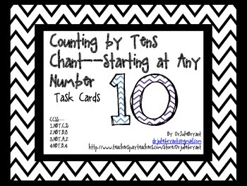 Chevron Counting by Tens Chant Task Cards