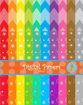 Digital Paper Background Chevron Crescent Flower Themes