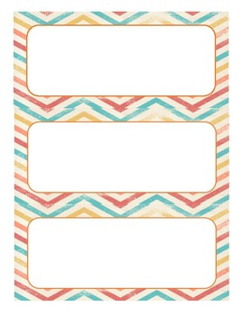Chevron Cubby Numbers and Name Tags