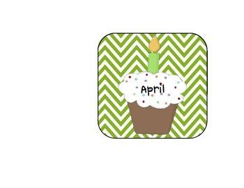 Green Chevron Cupcake Birthday Clip Chart