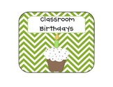 Green Chevron Cupcake Birthday Clip Chart