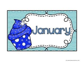 Chevron & Cupcakes Calendar Pieces