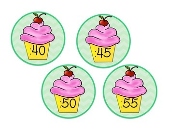 Clock Numbers: Chevron and Cupcake Theme