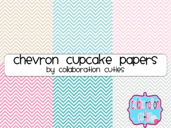 Chevron Cupcakes - Digital Papers / Digital Backgrounds