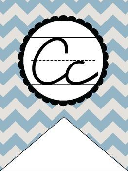 Chevron Cursive Alphabet Banner