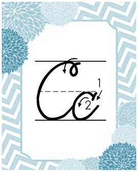Chevron Cursive Alphabet Wall Cards - Blue