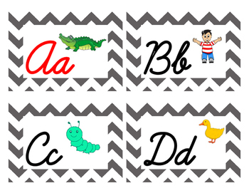 Chevron Cursive Word Wall Letters