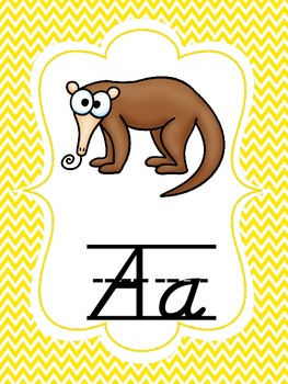 Chevron D'Nealian Alphabet Set with Guiding Lines