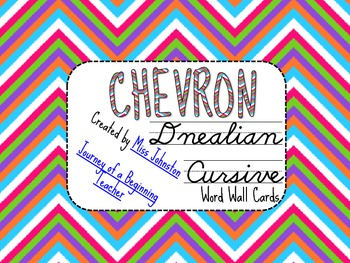Chevron D'Nealian Cursive Word Wall Cards