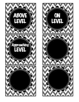 Chevron DRA level Book Basket Labels