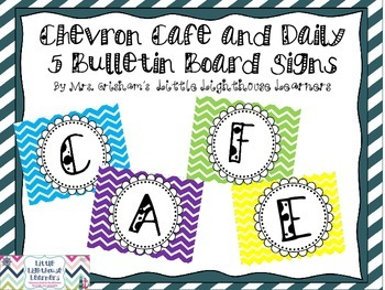 FREE Daily 5/Cafe Bulletin Board Signs;  Chevron Pattern
